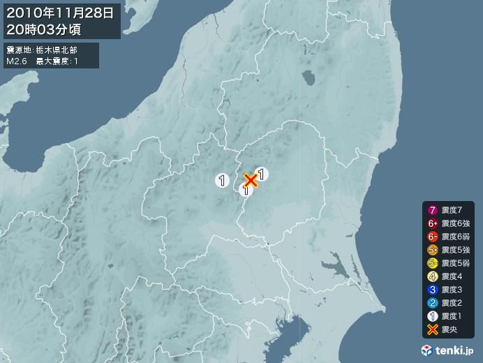 地震情報(2010年11月28日20時03分発生)