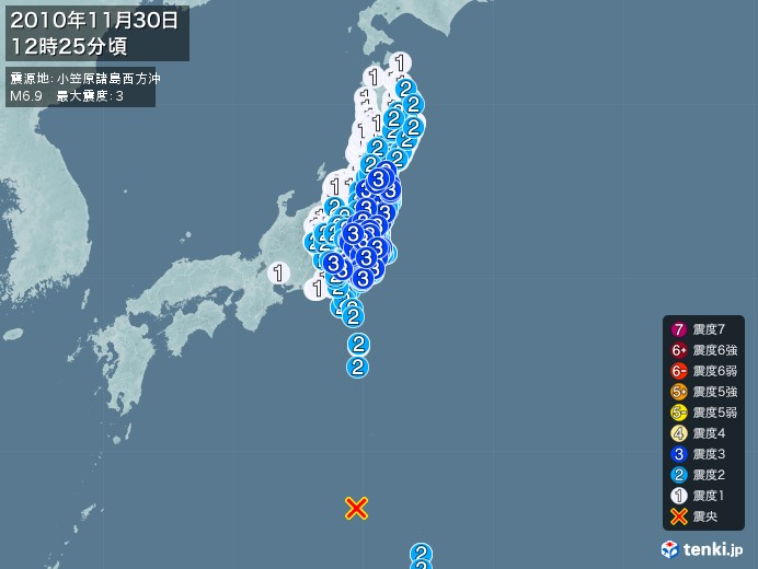 地震情報(2010年11月30日12時25分発生)