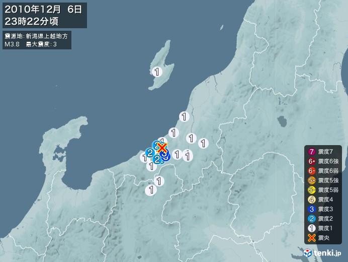 地震情報(2010年12月06日23時22分発生)