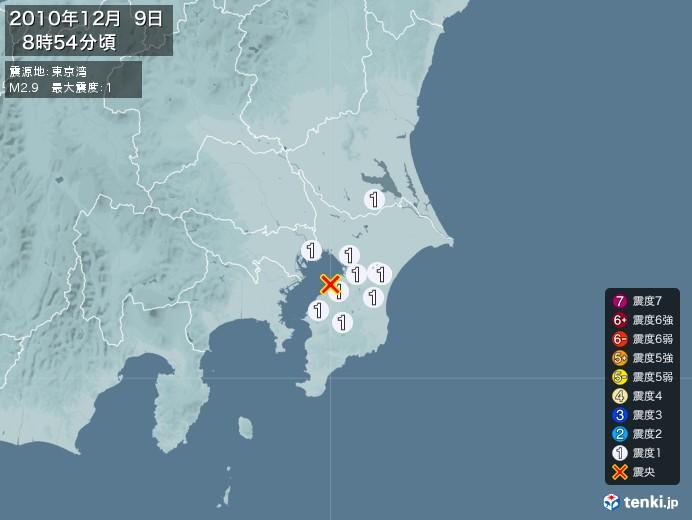 地震情報(2010年12月09日08時54分発生)