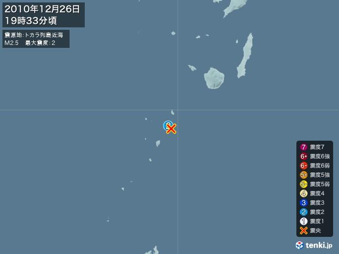 地震情報(2010年12月26日19時33分発生)