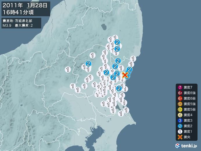 地震情報(2011年01月28日16時41分発生)