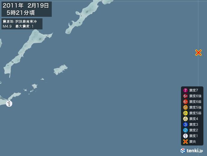 地震情報(2011年02月19日05時21分発生)
