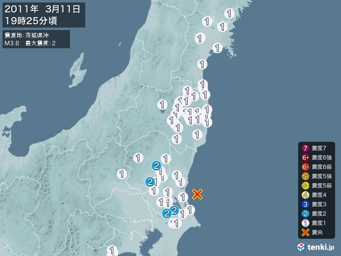 地震情報(2011年03月11日19時25分発生)