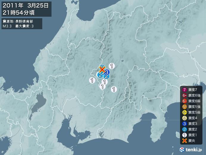 地震情報(2011年03月25日21時54分発生)
