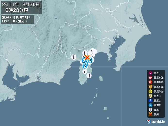 地震情報(2011年03月26日00時28分発生)
