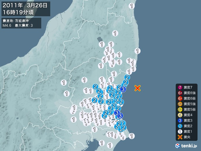 地震情報(2011年03月26日16時19分発生)