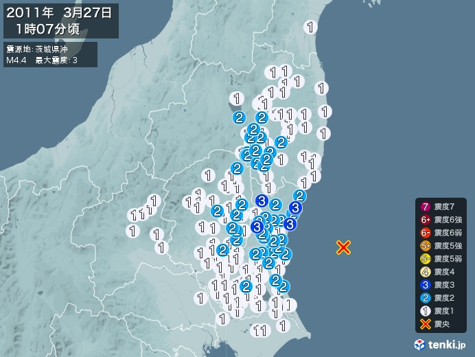 地震情報(2011年03月27日01時07分発生)