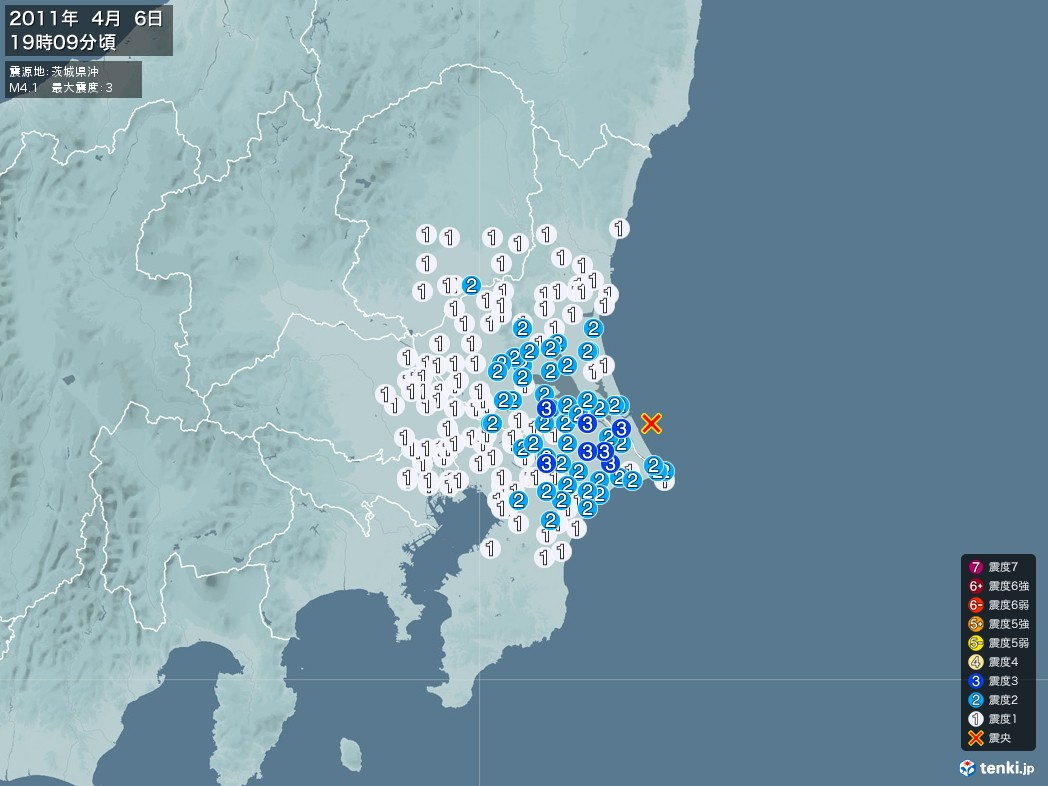 地震情報 2011年04月06日 19時09分頃発生 最大震度:3 震源地:茨城県沖(拡大画像)