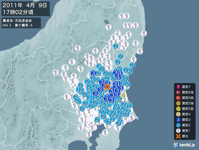 地震情報(2011年04月09日17時02分発生)