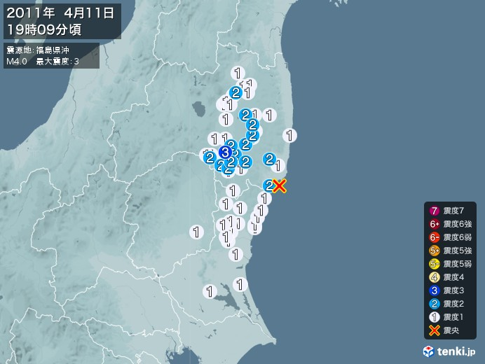 地震情報(2011年04月11日19時09分発生)