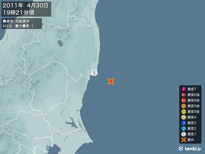地震情報(2011年04月30日19時21分発生)