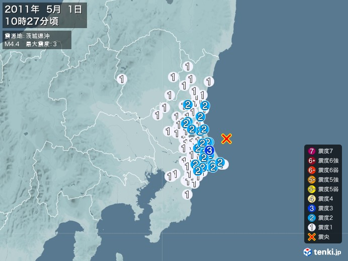 地震情報(2011年05月01日10時27分発生)