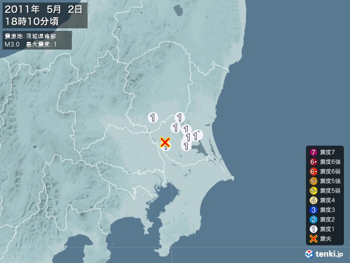 地震情報(2011年05月02日18時10分発生)