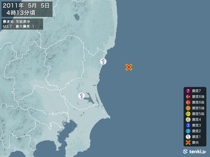 地震情報(2011年05月05日04時13分発生)