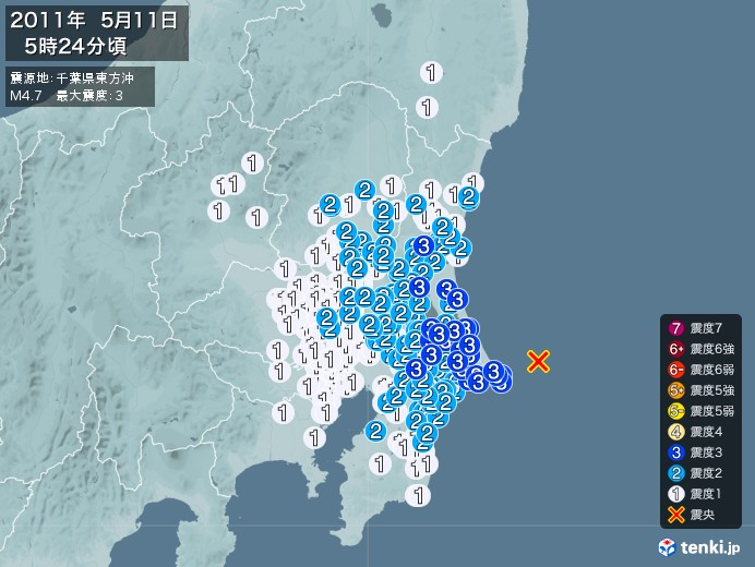 地震情報(2011年05月11日05時24分発生)