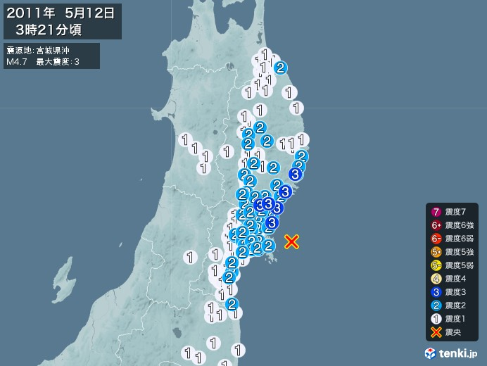 地震情報(2011年05月12日03時21分発生)