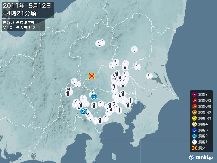 地震情報(2011年05月12日04時21分発生)