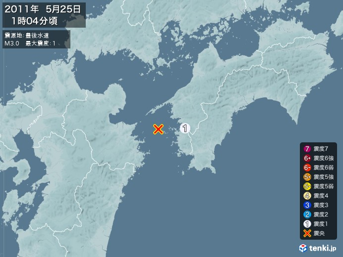 地震情報(2011年05月25日01時04分発生)