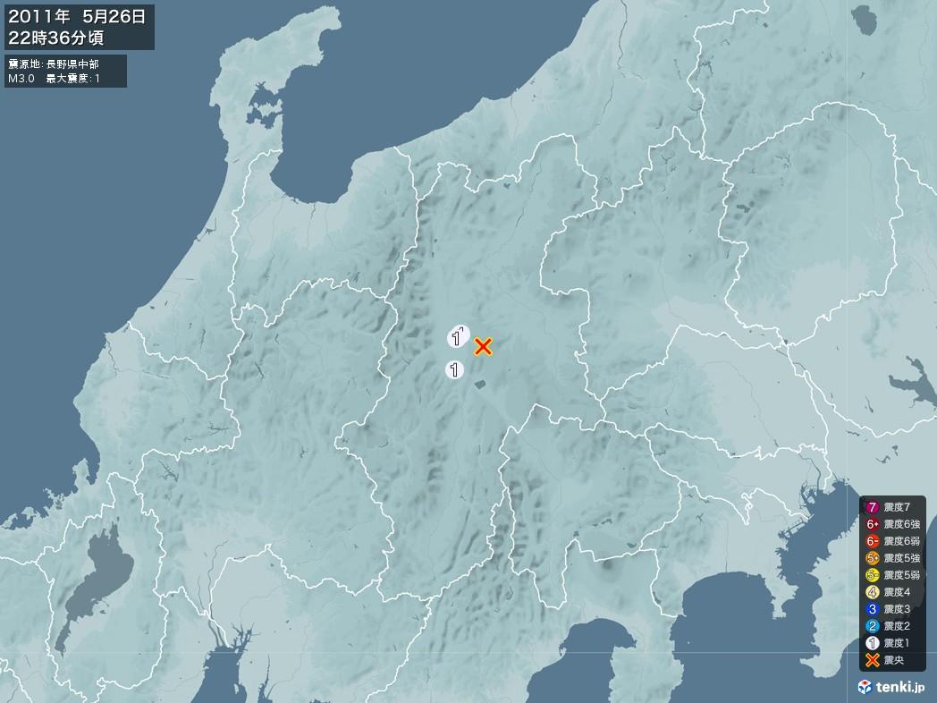 地震情報 2011年05月26日 22時36分頃発生 最大震度:1 震源地:長野県中部(拡大画像)