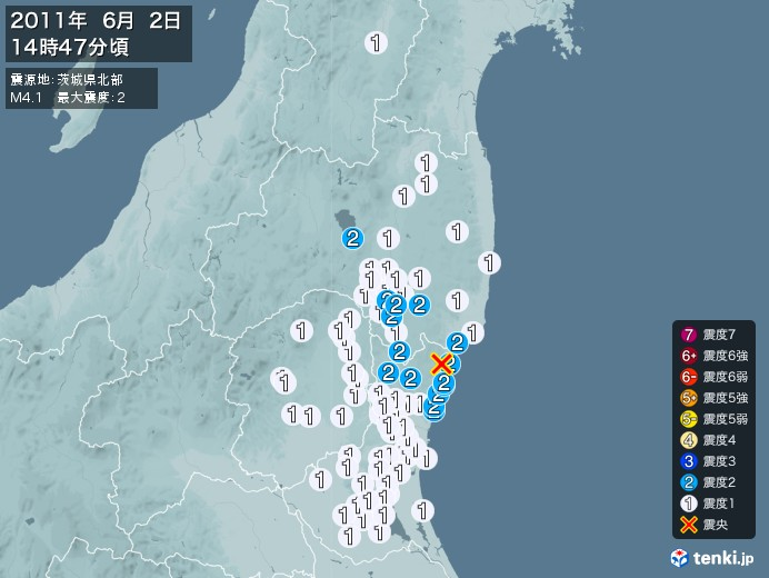 地震情報(2011年06月02日14時47分発生)