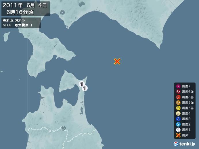 地震情報(2011年06月04日06時16分発生)
