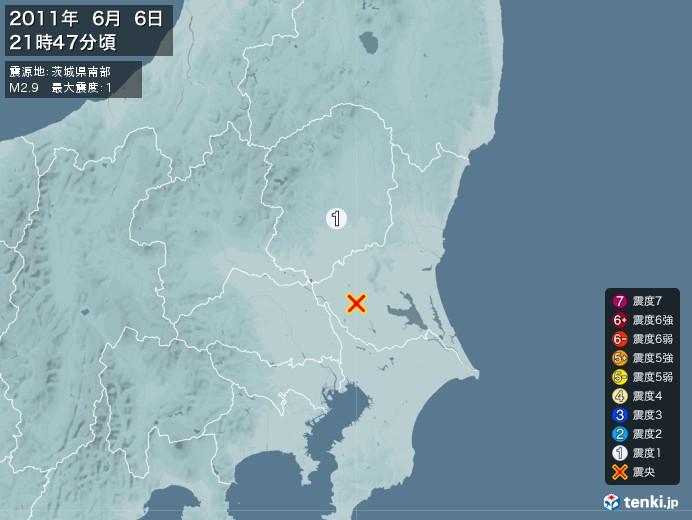 地震情報(2011年06月06日21時47分発生)