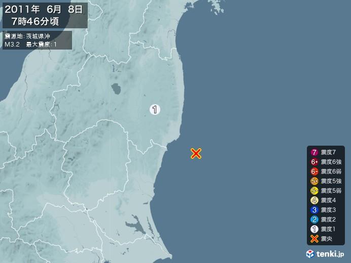 地震情報(2011年06月08日07時46分発生)