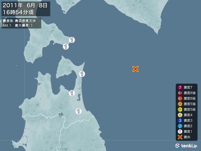 地震情報(2011年06月08日16時54分発生)