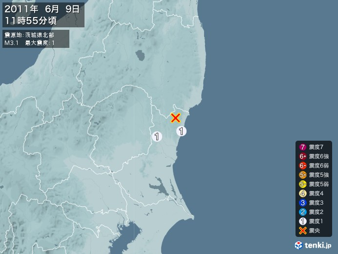 地震情報(2011年06月09日11時55分発生)