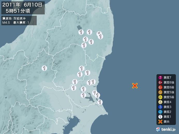 地震情報(2011年06月10日05時51分発生)