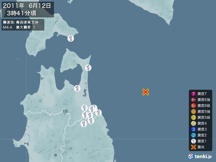 地震情報(2011年06月12日03時41分発生)