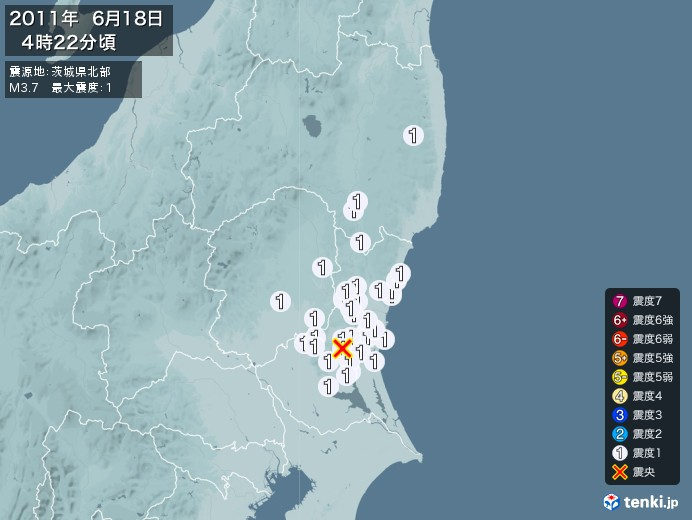 地震情報(2011年06月18日04時22分発生)