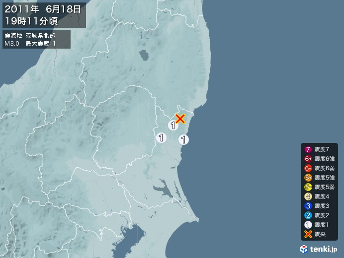 地震情報(2011年06月18日19時11分発生)