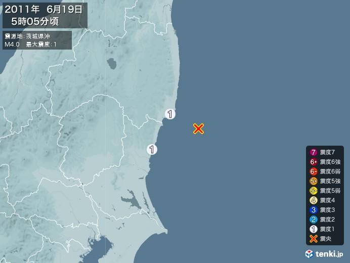 地震情報(2011年06月19日05時05分発生)