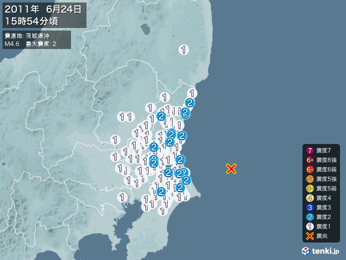 地震情報(2011年06月24日15時54分発生)