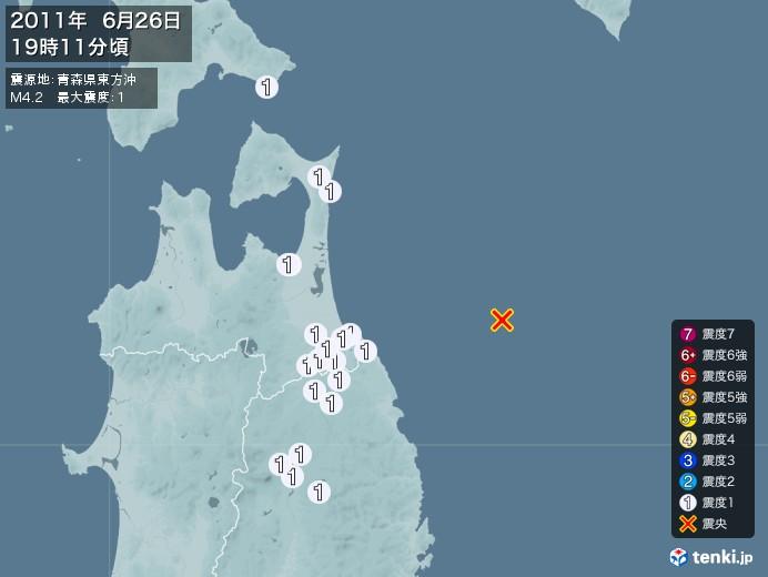 地震情報(2011年06月26日19時11分発生)