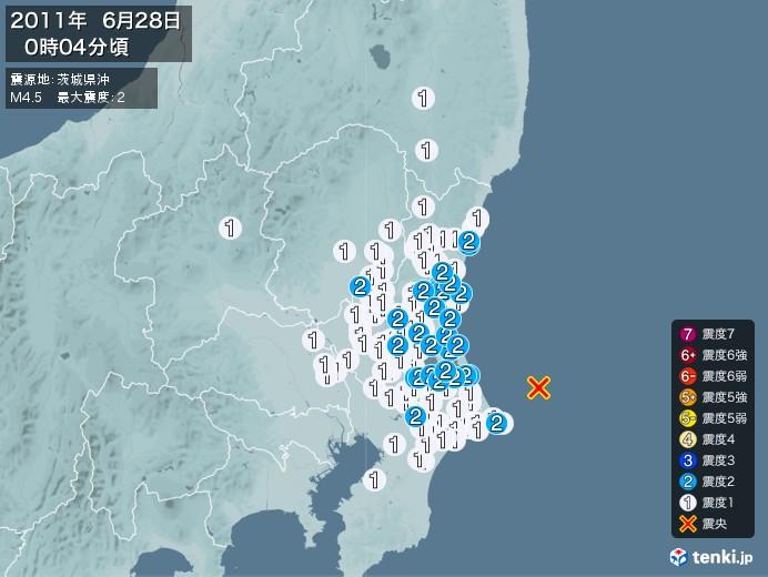 地震情報(2011年06月28日00時04分発生)