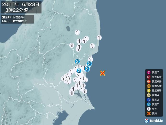 地震情報(2011年06月28日03時22分発生)