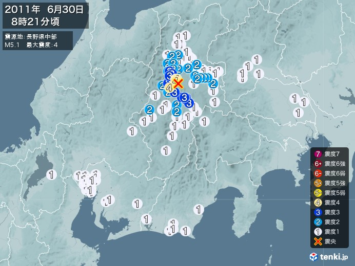 地震情報(2011年06月30日08時21分発生)