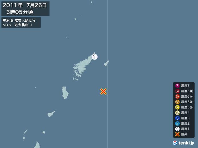 地震情報(2011年07月26日03時05分発生)