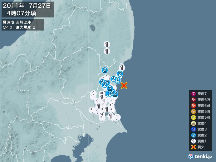 地震情報(2011年07月27日04時07分発生)