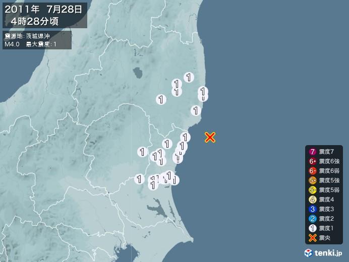 地震情報(2011年07月28日04時28分発生)