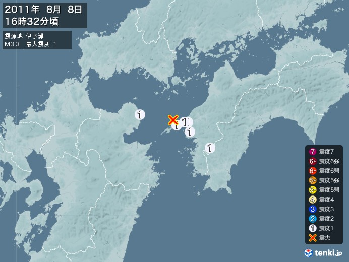 地震情報(2011年08月08日16時32分発生)