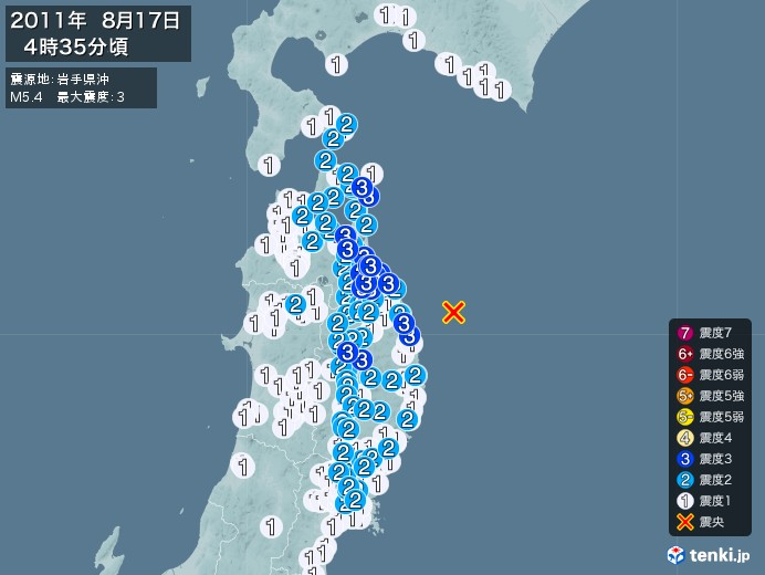 地震情報(2011年08月17日04時35分発生)