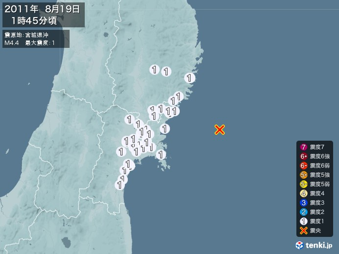 地震情報(2011年08月19日01時45分発生)