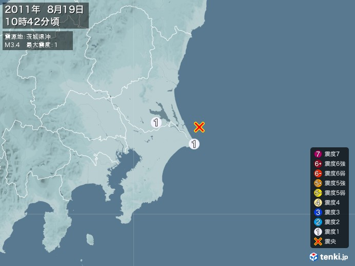 地震情報(2011年08月19日10時42分発生)