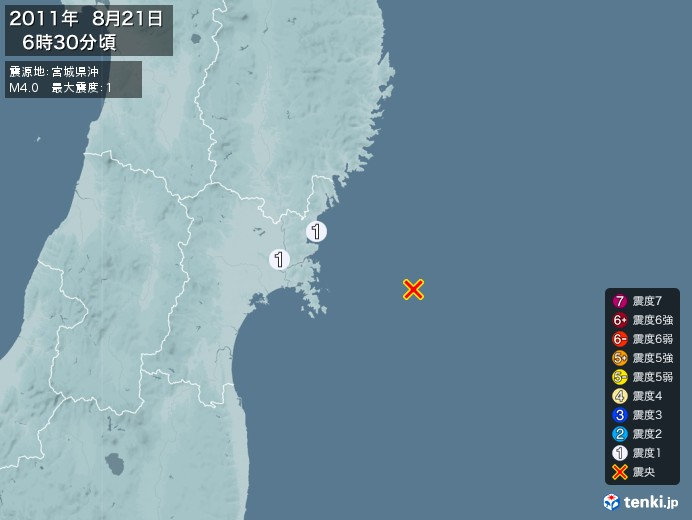 地震情報(2011年08月21日06時30分発生)