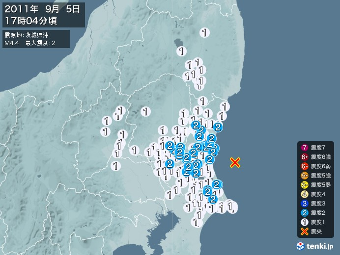 地震情報(2011年09月05日17時04分発生)