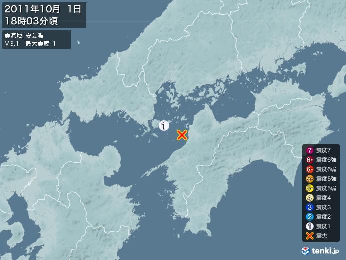 地震情報(2011年10月01日18時03分発生)